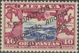 Lituania, Aéreo. MNH **Yv 94. 1935. 40 Cts Rosa Lila. MAGNIFICO Y RARO. Firmado Brun. Yvert 2012: 520 Euros. - Lituania