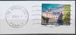 France - Châteaux Et Demeures II (Azay Le Rideau) YT A727 Obl. Ondulations Et Dateur Rond Sur Fragment - Francia