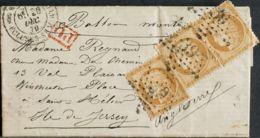 Francia, Ballons Montés. Sobre Yv 36(3). 1870. 10 Cts Bistre, Tres Sellos. PARIS A JERSEY (INGLATERRA), Transportada Por - Sin Clasificación