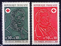 France 1972 MNH 2v, Red Cross, Doctors, Victor Broussais, French Physician - Rotes Kreuz