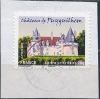 France - Châteaux Et Demeures II (Puyguilhem) YT A728 Obl. Cachet Rond Manuel Sur Fragment - Francia