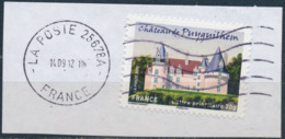 France - Châteaux Et Demeures II (Puyguilhem) YT A728 Obl. Ondulations Et Dateur Rond Sur Fragment - Francia