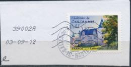 France - Châteaux Et Demeures II (Crazannes) YT A729 Obl. Cachet Rond Manuel Et Empreinte Toshiba Sur Fragment - Francia