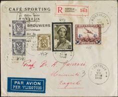 Bélgica, Aéreo. Sobre Yv 7, 411, 420, 421(2). 1936. 4 F Sobre 5 F Castaño Rojo Y Diversos Valores. Certificado De COURTR - Bélgica