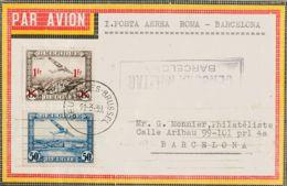 Bélgica, Aéreo. Sobre Yv 1, 6. 1939. 50 Cts Azul Y 1 F Sobre 1'50 F Castaño Negro. Correo Aéreo De BRUSELAS A BARCELONA. - Bélgica