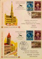 Bélgica, Aéreo. Sobre Yv 15/23A. 1948. Serie Completa, Dieciocho Valores. Perforación IMABA, Sobre Tres Tarjetas Postale - Bélgica