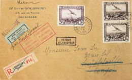 Bélgica, Aéreo. Sobre Yv 2(2), 5. 1930. 1'50 Fr Castaño Negro, Dos Sellos Y 5 Fr Violeta. Certificado De BRUSELAS A LEOP - Bélgica