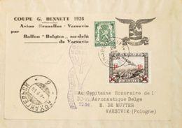 Bélgica, Aéreo. Sobre Yv Aéreo 6, 425. 1936. 35 Cts Verde Y 1 Fr Sobre 1'50 Fr Aéreo. BRUSELAS A VARSOVIA (POLONIA). Cir - Bélgica