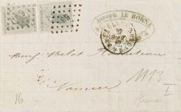 Bélgica. Sobre Yv 17(2). 1867. 10 Cts Gris, Pareja. BRUSELAS A NAMUR. Matasello NUMERAL DE BARRAS Nº65. MAGNIFICA. - Bélgica