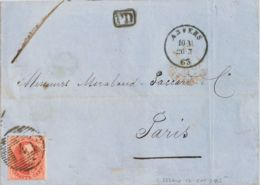 Bélgica. Sobre Yv 12. 1863. 40 Cts Rojo. AMBERES A PARIS (FRANCIA). Matasello NUMERAL DE BARRAS Nº4. MAGNIFICA. - Bélgica