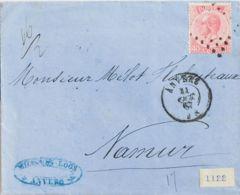 Bélgica. Sobre Yv 20. 1867. 40 Cts Rosa. AMBERES A NAMUR. Doble Porte. MAGNIFICA. - Bélgica