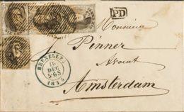 Bélgica. Sobre Yv 6(4). 1855. 10 Cts Castaño, Dos Parejas Verticales. BRUSELAS A AMSTERDAM (HOLANDA). Matasello Numeral - Bélgica