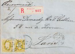 Bélgica. Sobre Yv 32(2). 1869. 25 Cts Oliva, Dos Sellos. Certificado De AMBERES A PARIS. MAGNIFICA. - Bélgica