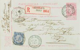 Bélgica. Sobre Yv 60. 1904. 10 Cts Rosa Sobre Tarjeta Entero Postal Certificada De BRUSELAS A PARIS, Con Franqueo Comple - Bélgica