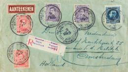 Bélgica. Sobre Yv 138(2), 139(2), 187. 1921. 10 Cts Rosa, Dos Sellos, 15 Cts Violeta, Dos Sellos Y 50 Cts Azul. Certific - Bélgica