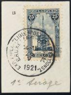 Bélgica. Fragmento Yv 164. 1919. 25 Cts Azul, Sobre Fragmento. PRIMERA TIRADA. MAGNIFICO Y RARO. - Bélgica