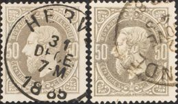 Bélgica. ºYv 35, 35a. 1869. 50 Cts Gris Y 50 Cts Gris Oscuro. MAGNIFICOS. Yvert 2011: 285 Euros. - Bélgica