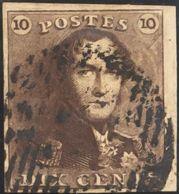 Bélgica. ºYv 1a. 1849. 10 Cts Castaño Rojo, Borde De Hoja. MAGNIFICO Y RARO. Yvert 2011: 520 Euros. - Bélgica