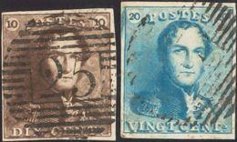 Bélgica. ºYv 1/2. 1849. 10 Cts Castaño Y 20 Cts Azul. MAGNIFICOS. Yvert 2011: 170 Euros. - Bélgica