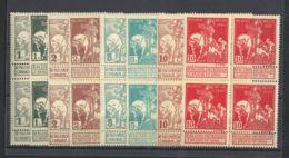 Bélgica. MNH/MH **/*Yv 84/91(4). 1910. Serie Completa, Bloque De Cuatro. Una Serie Con Fijasellos. MAGNIFICA. Yvert 2011 - Bélgica