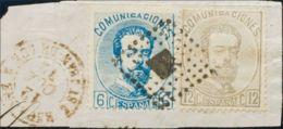 España. Amadeo I. º119, 122. 1872. 6 Cts Azul Y 12 Cts Lila Gris, Sobre Fragmento. Matasello ROMBO DE PUNTOS. MAGNIFICA - 1872-73 Königreich: Amédée I.
