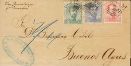 España. Amadeo I. Sobre 118, 121, 126. 1873. 5 Cts Rosa, 10 Cts Ultramar Y 50 Cts Verde. BARCELONA A BUENOS AIRES (ARGEN - 1872-73 Königreich: Amédée I.