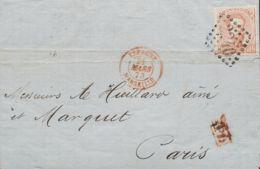 España. Amadeo I. Sobre 125. 1872. 40 Cts Castaño (doblez De Archivo). Dirigida A PARIS (FRANCIA). Matasello Francés ROM - 1872-73 Reino: Amadeo I