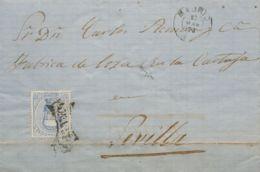 España. Amadeo I. Sobre 121. 1873. 10 Cts Ultramar. MADRID A SEVILLA. Matasello Prefilatélico FRANCO, De Uso General. MA - 1872-73 Königreich: Amédée I.