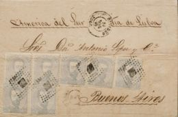 España. Amadeo I. Sobre 122(7). 1872. 12 Cts Lila Gris, Siete Sellos. RIVADEO (LUGO) A BUENOS AIRES (ARGENTINA). En El F - 1872-73 Königreich: Amédée I.