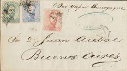 España. Amadeo I. Sobre 118, 121, 126. 1872. 5 Cts Rosa, 10 Cts Ultramar Y 50 Cts Verde. BARCELONA A BUENOS AIRES (ARGEN - 1872-73 Königreich: Amédée I.