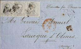 España. Amadeo I. Sobre 122(3). 1872. 12 Cts Lila Gris, Tira De Tres. ZARAGOZA A LAROQUE DE OLMES (FRANCIA). Franqueada - 1872-73 Königreich: Amédée I.