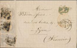 España. Amadeo I. Sobre 122(3). 1872. 12 Cts Lila Gris, Tira De Tres. BARCELONA A LYON (FRANCIA). Franqueada Con La Tari - 1872-73 Königreich: Amédée I.
