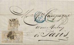 España. Amadeo I. Sobre 122(3). 1872. 12 Cts Lila Gris, Tira De Tres. BARCELONA A PARIS (FRANCIA). Franqueada Con La Tar - 1872-73 Königreich: Amédée I.