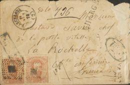 España. Amadeo I. Sobre 125(2). 1872. 40 Cts Castaño, Pareja. Certificado De BARCELONA A LA ROCHELLE (FRANCIA) (pequeña - 1872-73 Königreich: Amédée I.