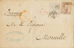 España. Amadeo I. Sobre 122, 124. 1872. 12 Cts Gris Lila Y 25 Cts Castaño. MADRID A MARSELLA. Inusual Combinación De Fra - 1872-73 Königreich: Amédée I.