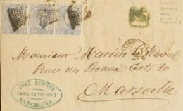 España. Amadeo I. Sobre 122(3). 1872. 12 Cts Lila Gris, Tres Sellos. BARCELONA A MARSELLA. Franqueada Con La Tarifa De 3 - 1872-73 Königreich: Amédée I.