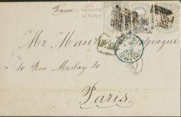 España. Amadeo I. Sobre 122(3). 1872. 12 Cts Gris Lila, Tres Sellos. BARCELONA A PARIS (FRANCIA). Franqueada Con La Tari - 1872-73 Königreich: Amédée I.
