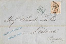España. Amadeo I. Sobre 125. 1872. 40 Cts Castaño. BARCELONA A LEIPZIG (ALEMANIA). MAGNIFICA E INUSUAL DESTINO A PRUSIA. - 1872-73 Königreich: Amédée I.
