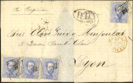 España. Amadeo I. Sobre 121(4). 1873. 10 Cts Azul, Cuatro Sellos. BARCELONA A LYON (FRANCIA). Matasello ROMBO DE PUNTOS. - 1872-73 Reino: Amadeo I