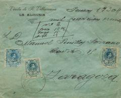 España. Alfonso XIII Correo Certificado. Sobre 274, 277(2). 1915. 25 Cts Azul Y 50 Cts Azul, Dos Sellos. Valores Declara - 1889-1931 Reino: Alfonso XIII