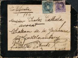 España. Alfonso XIII Correo Certificado. Alfonso XIII Correo Certificado. MALAGA A FRANCIA. MAGNIFICA. - 1889-1931 Reino: Alfonso XIII
