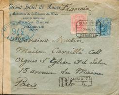 España. Alfonso XIII Correo Certificado. Sobre 276, 274. 1915. 40 Cts Rosa Y 25 Cts Azul. Certificado De ZARAGOZA A PARI - 1889-1931 Reino: Alfonso XIII