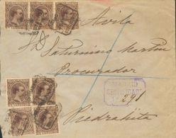 España. Alfonso XIII Correo Certificado. Sobre 219(7). 1891. 15 Cts Castaño, Siete Sellos. Certificado De MADRID A PIEDR - 1889-1931 Reino: Alfonso XIII