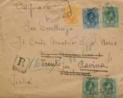 España. Alfonso XIII Correo Certificado. (*)268(3), 271, 277. 1922. 5 Cts Verde, Tres Sellos, 15 Cts Amarillo Y 50 Cts A - 1889-1931 Reino: Alfonso XIII