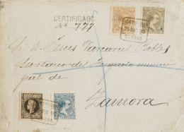 España. Alfonso XIII Correo Certificado. Sobre 219, 221, 222, 240. 1898. 15 Cts Castaño, 25 Cts Azul, 30 Cts Verde Bronc - 1889-1931 Reino: Alfonso XIII