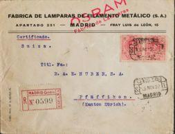 España. Alfonso XIII Correo Certificado. Sobre 276(2). 1922. 40 Cts Rosa, Pareja. Certificado De MADRID A PFAFFIKON (SUI - 1889-1931 Reino: Alfonso XIII