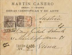España. Alfonso XIII Correo Certificado. Sobre 217(2), 219(2). 1891. 10 Cts Castaño Claro, Dos Sellos Y 15 Cts Castaño V - 1889-1931 Reino: Alfonso XIII