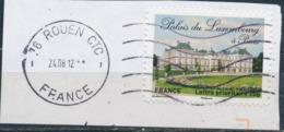 France - Châteaux Et Demeures II (Palais Du Luxembourg) YT A730 Obl. Ondulations Et Dateur Rond Sur Fragment - Francia