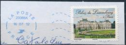 France - Châteaux Et Demeures II (Palais Du Luxembourg) YT A730 Obl. Ondulations Et Dateur Rond Bleu Sur Fragment - Francia