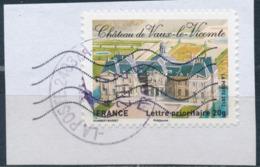 France - Châteaux Et Demeures II (Vaux Le Vicomte) YT A731 Obl. Cachet Rond Manuel Et Empreinte Toshiba Sur Fragment - Francia